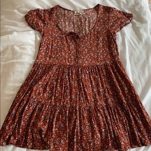Urban Outfitters Short Sleeved Floral Mini Dress